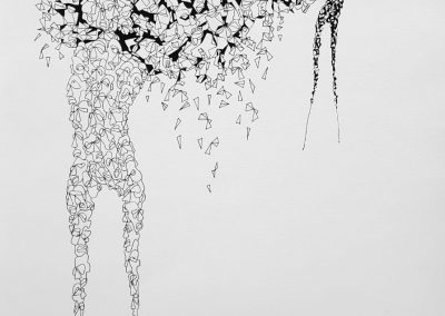 Anya Adendorff, Confrontation, pen and ink on paper, framed, 350 x 500mm, R4300