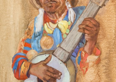 Christine Thomas, The Banjo Player (piet tells stories), Oil on Board, R2835, 45x60