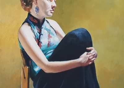 Diane McLean, Girl Waiting I, oil on board, framed, 200 x 200mm, R4750