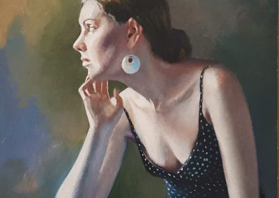 Diane McLean, Girl Waiting II, oil on board, framed, 200 x 200mm, R4750