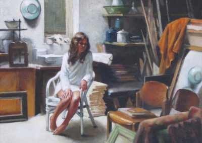 Diane McLean, Leila in the Studio II, oil on canvas, framed, 365 x 475mm, R9450