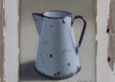 Diane McLean, Scratched White Jug, oil on board, framed, 155 x 185mm, R2940