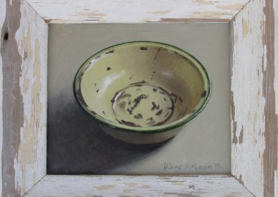 Diane McLean, Yellow Bowl with Green Rim, oil on board, framed 160 x 140mm, R2520