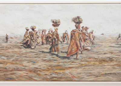 Cobus van Bosch, Black Women being marched to concentration camp during Anglo Boer War 1899-1902 , Oil on Canvas, 2013, R15000, 78x40
