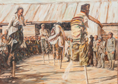 Cobus van Bosch, Chinese mine workers on the Rand II 1907, Oil on Canvas, R18900, 62x45