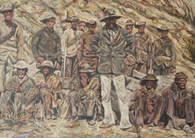Cobus van Bosch - Kgosi Toto _ fellow rebels after their surrender to Cape Colonial forces near Langeberg 1897 - 440x620 Oil on Canvas R13500