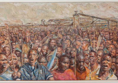 Cobus van Bosch, Miners on Strike, Oil on Canvas, 2014, R26000, 104x53