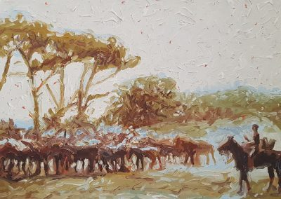 Cobus van Bosch, Remount Depot, Stellenbosch circa 1900, 400 x 300mm, unframed, oil on canvas, R7850