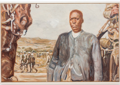 Cobus van Bosch, Spiritual Leader Enoch Mgjima after his arrest 1921 at Bulhoek, Oil on Canvas, R12000, 63x24