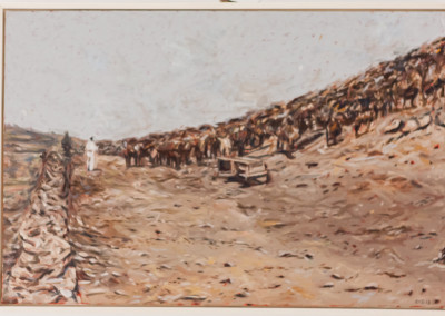 Cobus van Bosch,Cattle used for the production of serum during the rinderpest Kimberly 1897, Oil on Canvas, 2013, R12 000, 40x60
