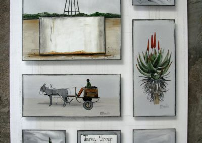 Marguerite Beneke, 7 piece Karoo tiles on white board, fused art glass, 390 x 510mm, R1770