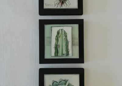 Marguerite Beneke, selection of 120 x 120mm tiles on wood, fused art glass, R180 each
