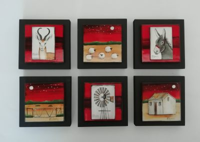 Marguerite Beneke, selection of 6 small tiles, 120 x 120mm, fused art glass, R180 each