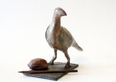 Sarel Petrus - Bird with Shell and Pencil (image2)- Bronze R9450