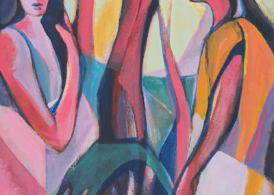 Bill Strapp - SOLD Two figures with tree - 457x357 Oil on Canvas R2365