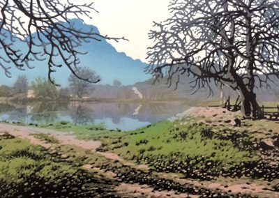 Bolander Dam, 380 x 280mm, reduction linocut, unframed,