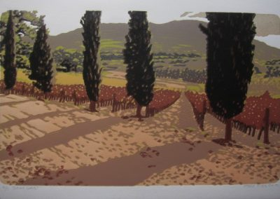 Autumn Cedars, 330 x 500mm, unframed Reduction Woodblock, R4725
