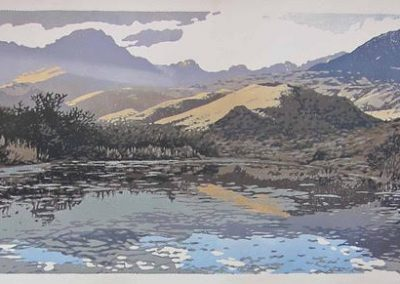 Elandsberg Reflection - 1200mm x 500mm,  Reduction Woodblock, Unframed: R22 850 Framed: R24 400