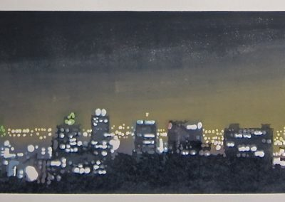 Night Skyline, 1200mm x 550mm framed, Reduction Linocut, R24 400