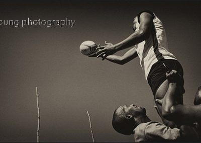 Roger Young, Farm Rugby Lineout, photograph, 660 x 350mm, R8700 (f), R7100 (uf)