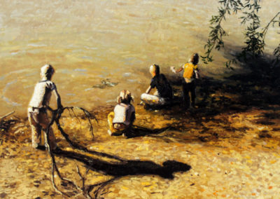 SOLD Kids at the Orange River - Oil on Canvas - 700x560 - R14200