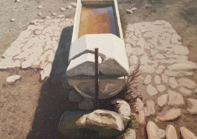 Water Trough, oil on canvas, 650 x 520mm, framed, R19 700 Ben Coutouvidis