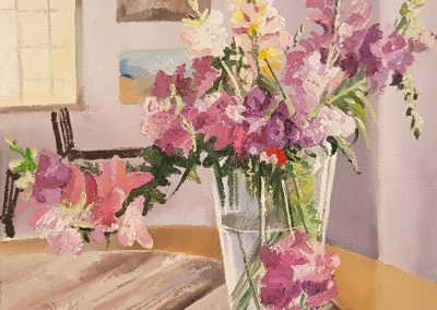Flowers in a Vase, oil on canvas, unframed, 300 x 400mm, R3150